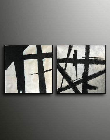 Image of Black and white art paintings  White abstract painting F114-7