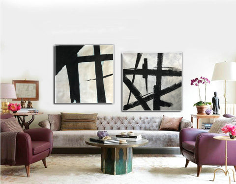Image of Black and white art paintings  White abstract painting F114-8