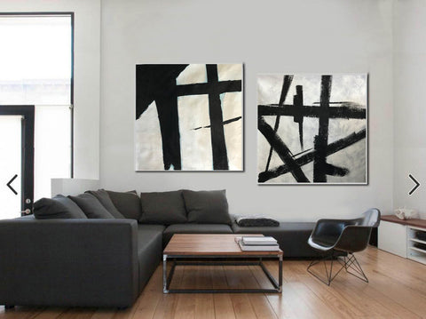 Image of Black and white art paintings  White abstract painting F114-3