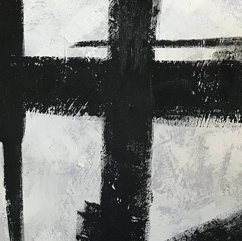 Image of Black and white art paintings  White abstract painting F114-9