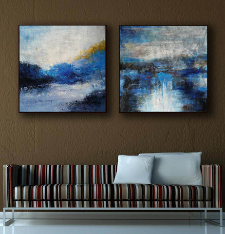 Image of Black and white artwork for bedroom  Black and white acrylic painting F115-2