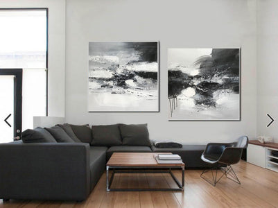 Black and white art abstract | Black and white abstract artwork F93-4