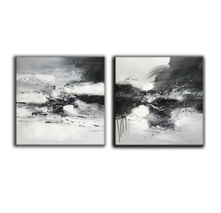 Black and white art abstract | Black and white abstract artwork F93-6