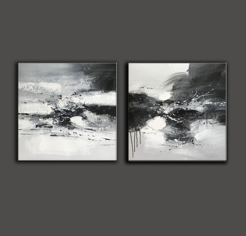 Image of Black and white art abstract | Black and white abstract artwork F93-7