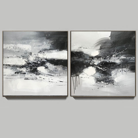 Image of Black and white art abstract | Black and white abstract artwork F93-2