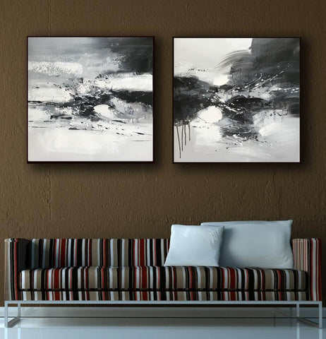Image of Black and white art abstract | Black and white abstract artwork F93-1
