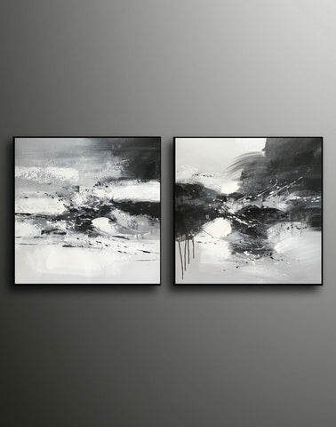 Image of Black and white art abstract | Black and white abstract artwork F93-9