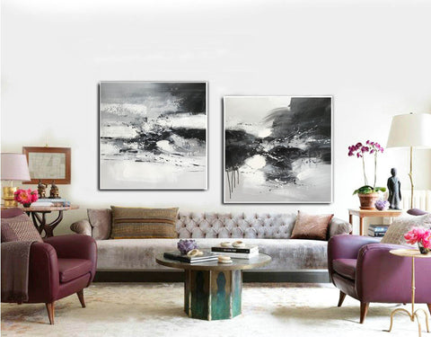 Image of Black and white art abstract | Black and white abstract artwork F93-10