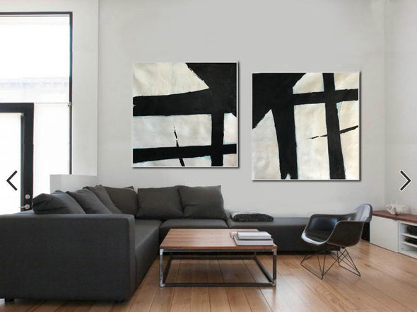 Black and white canvas art  White abstract art F110-2
