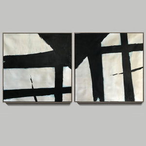 Black and white canvas art  White abstract art F110-7