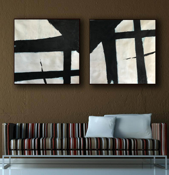 Black and white canvas art  White abstract art F110-10