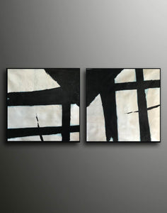 Black and white canvas art  White abstract art F110-9