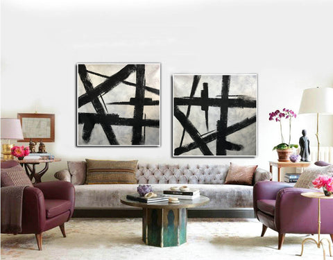 Image of Black and grey paintings | Black and white paintings F105-1
