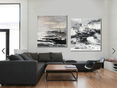 Large black and white abstract art | Black and white modern paintings F84-10