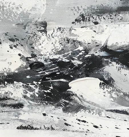 Image of Large black and white abstract art | Black and white modern paintings F84-4