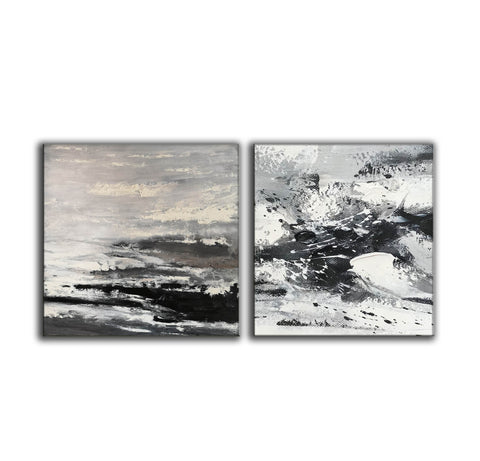Image of Large black and white abstract art | Black and white modern paintings F84-5