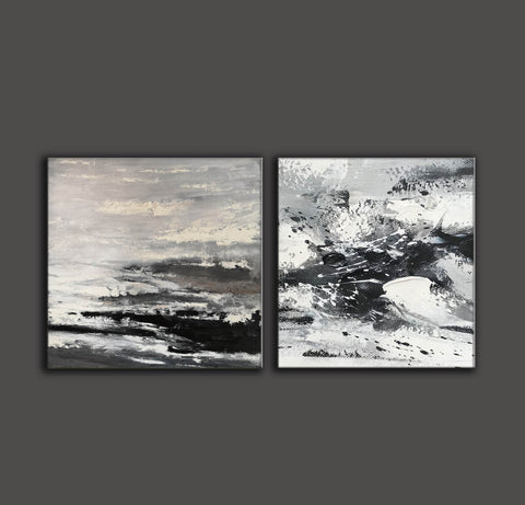 Image of Large black and white abstract art | Black and white modern paintings F84-6