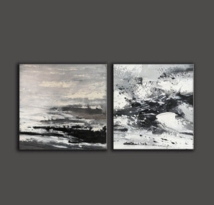 Large black and white abstract art | Black and white modern paintings F84-6