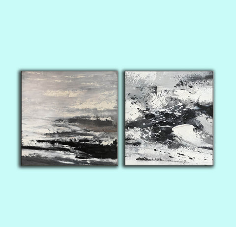 Image of Large black and white abstract art | Black and white modern paintings F84-7