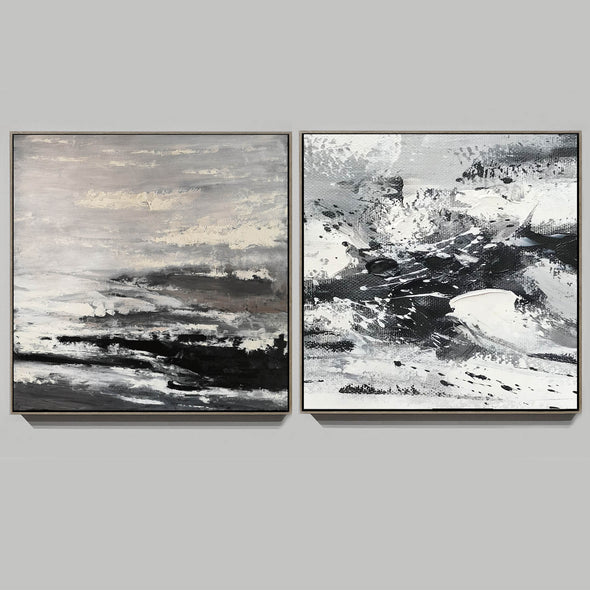 Large black and white abstract art | Black and white modern paintings F84-9