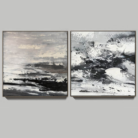 Image of Large black and white abstract art | Black and white modern paintings F84-9