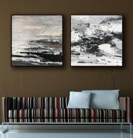 Image of Large black and white abstract art | Black and white modern paintings F84-1
