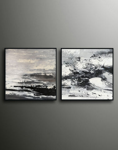 Image of Large black and white abstract art | Black and white modern paintings F84-8