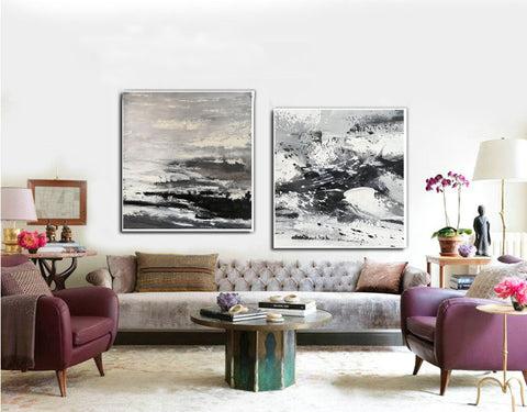 Image of Large black and white abstract art | Black and white modern paintings F84-2