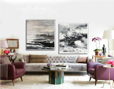 Large black and white abstract art | Black and white modern paintings F84-2