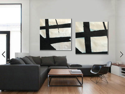 Black and white wall decor for bedroom | Modern black and white artwork F96-10