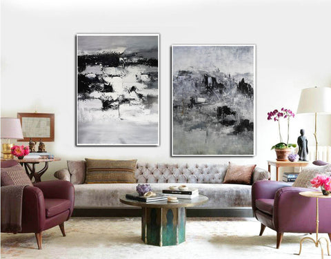 Image of Black and white modern paintings | Black and white modern art paintings F78-10
