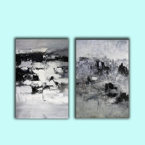 Image of Black and white modern paintings | Black and white modern art paintings F78-4