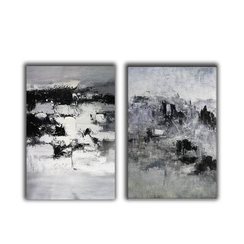 Image of Black and white modern paintings | Black and white modern art paintings F78-5