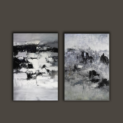 Image of Black and white modern paintings | Black and white modern art paintings F78-9