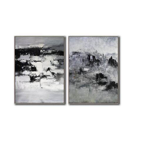 Image of Black and white modern paintings | Black and white modern art paintings F78-6