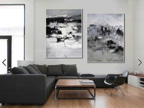 Image of Black and white modern paintings | Black and white modern art paintings F78-2