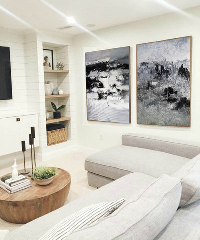 Image of Black and white modern paintings | Black and white modern art paintings F78-8