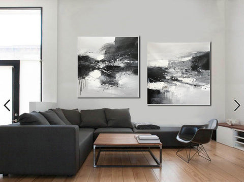 Image of Black & white paintings contemporary | Black and white wall art for bedroom F89-10