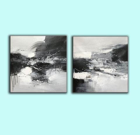 Image of Black & white paintings contemporary | Black and white wall art for bedroom F89-3