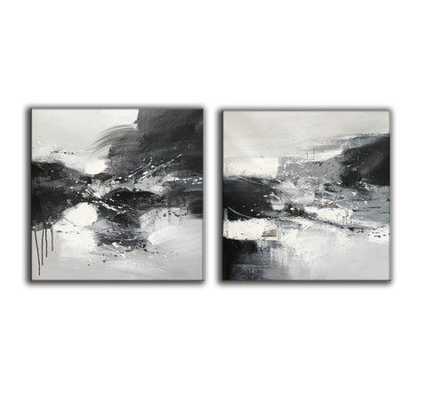 Image of Black & white paintings contemporary | Black and white wall art for bedroom F89-4
