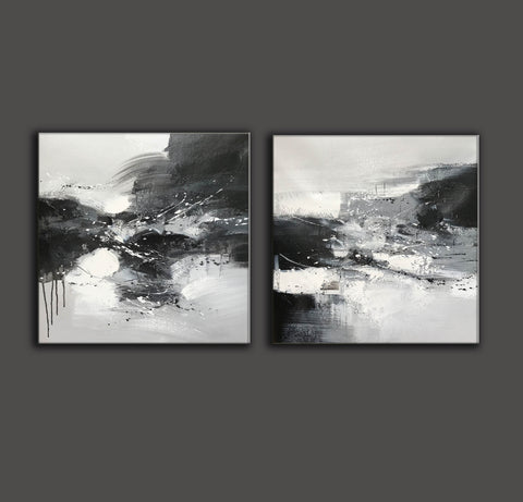 Image of Black & white paintings contemporary | Black and white wall art for bedroom F89-5