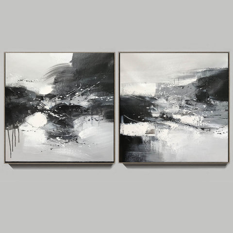 Image of Black & white paintings contemporary | Black and white wall art for bedroom F89-6