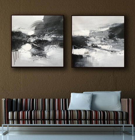 Image of Black & white paintings contemporary | Black and white wall art for bedroom F89-7