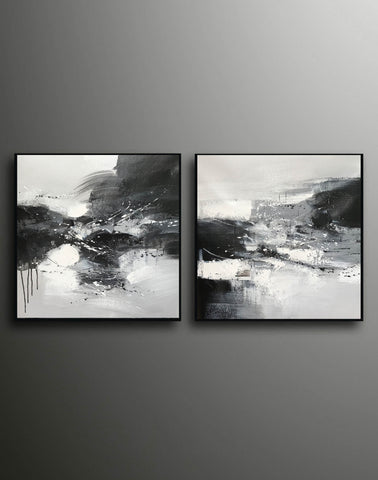 Image of Black & white paintings contemporary | Black and white wall art for bedroom F89-8