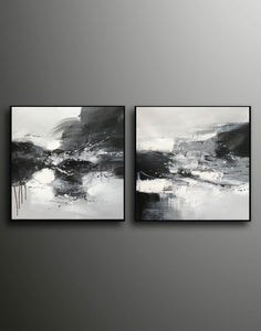 Black & white paintings contemporary | Black and white wall art for bedroom F89-8