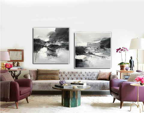 Image of Black & white paintings contemporary | Black and white wall art for bedroom F89-9