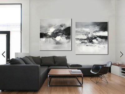 Big black and white paintings | Large white wall art F91-2