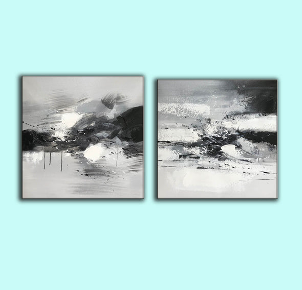 Big black and white paintings | Large white wall art F91-5