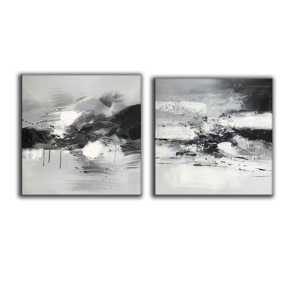 Big black and white paintings | Large white wall art F91-6