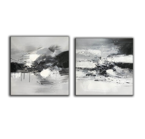 Image of Big black and white paintings | Large white wall art F91-6